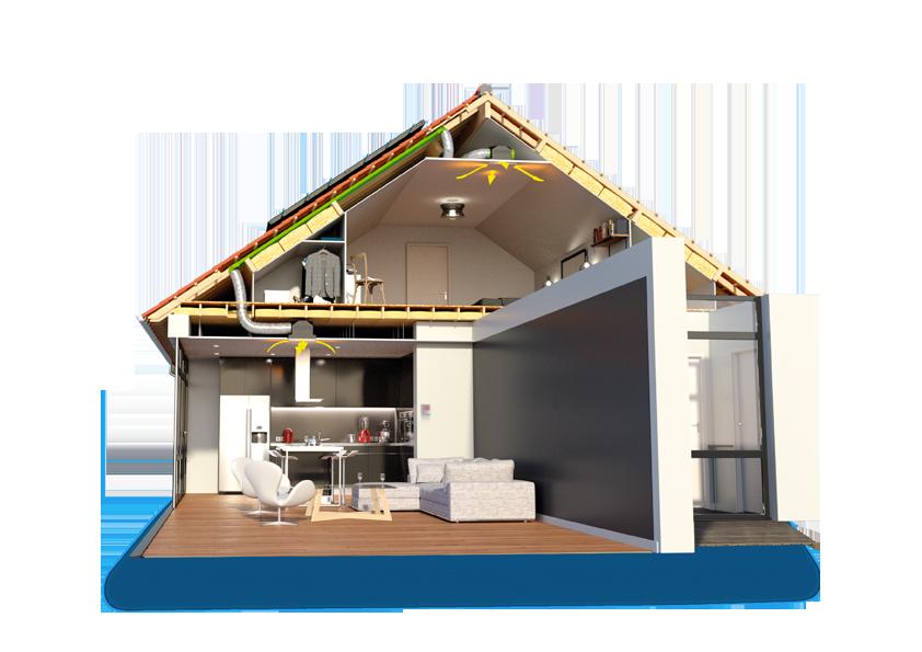 exemple de système d'exploitation de l'énergie solaire dans une maison